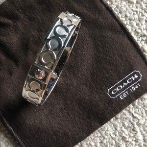 Coach silver bangle bracelet with dust bag